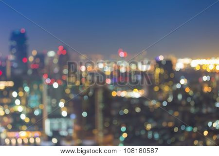 Blurred city multiple colour lights bokeh