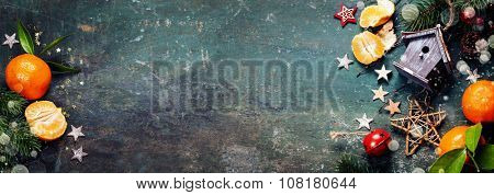 Christmas composition on dark vintage background