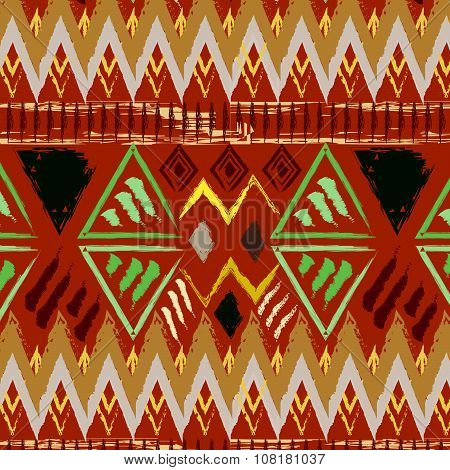Hand Drawn Tribal Ethnic Colorful Seamless Pattern On Orange Background