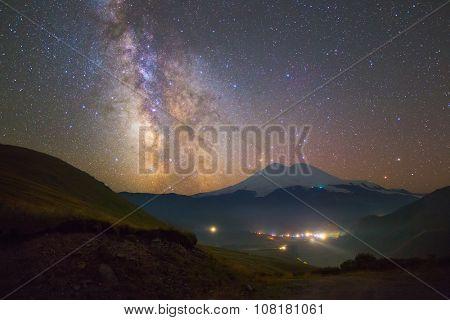 Stars over Mount Elbrus