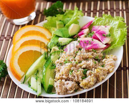 Dietary menu. Breakfast. Oatmeal porridge with vegetables