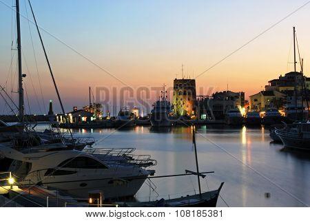Puerto Banus marina at dusk.