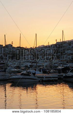 Puerto banus marina at sunset.