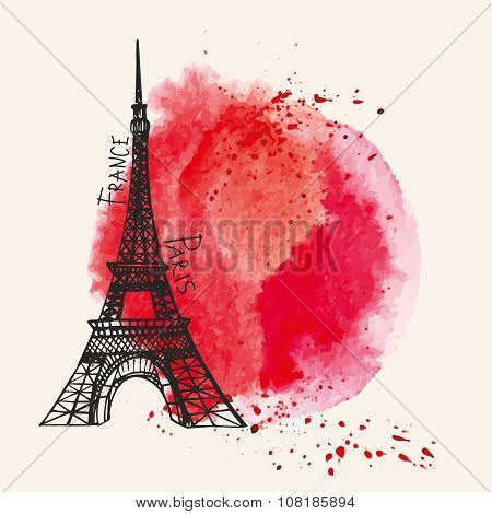 Eiffel tower,Watercolor red splash.Paris card