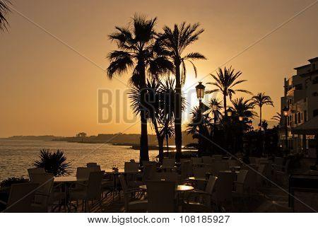 Puerto Banus at sunset.