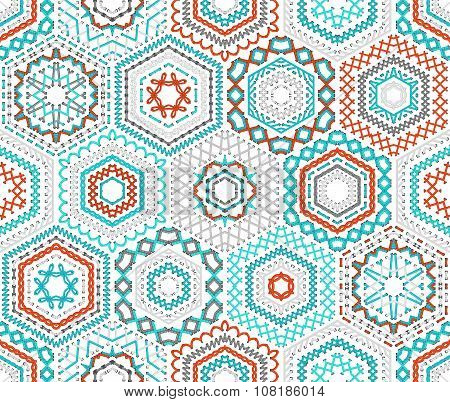 Seamless Hexagons Embroidery Pattern.