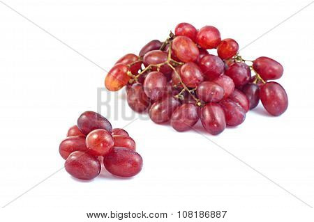 Red Grapes On White Background