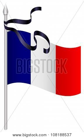 French flag with black mourning ribbon