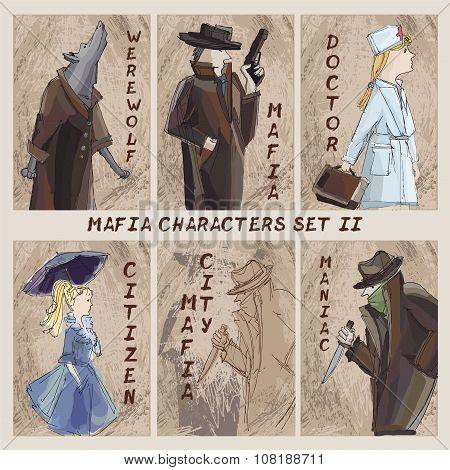 Mafia City Characters Set.cardgame. Citizen, Mafia, Maniac, Doctor, Werewolf