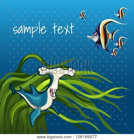 Fish hammer in algae on a blue background