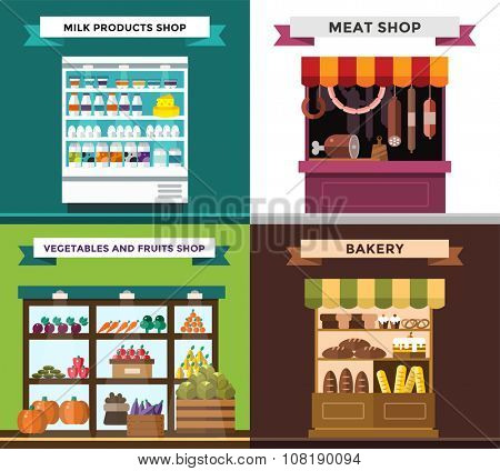 Fruit, vegetables, milk products, meat, bakery shop stall vector set. Fruit and vegetables market view. Milk products on shop stall. Meat shop vector illustration.Food supermarket,food shop,food store