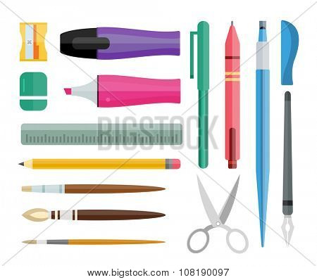 Flat stationery drawing tools, pen set. Paintbrushes, felt-tip, pencil and marker highlighter collection isolated on white. Pens vector set. School pens tools. Artistic tools brushes. Office tools
