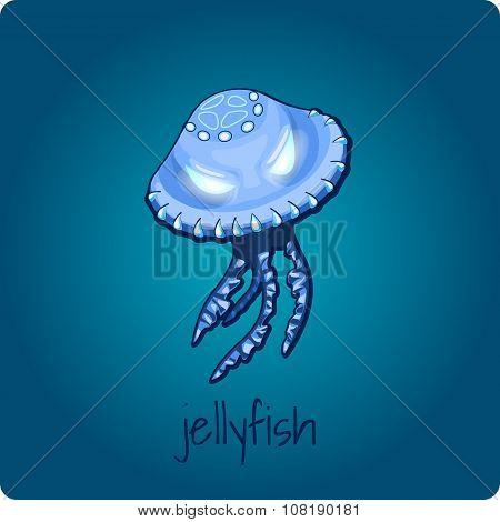Single jellyfish on deep blue background