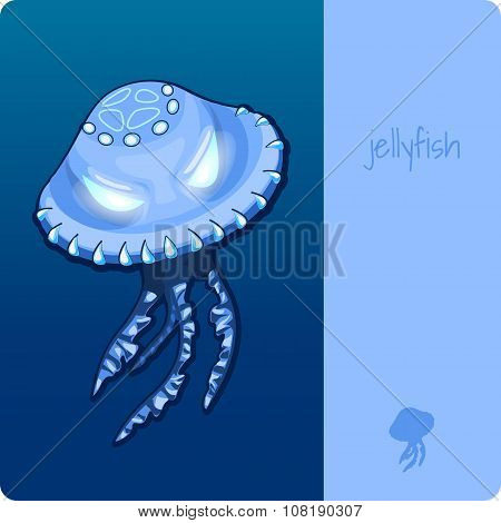 Single jellyfish with space for text