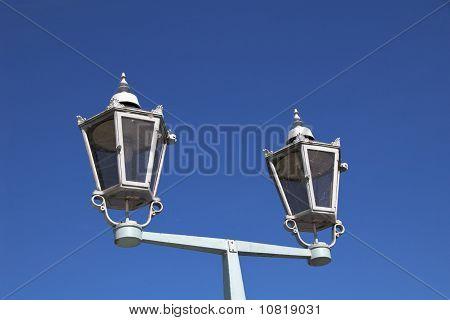 Two streetlamps of Das Blaue Wunder, Dresden