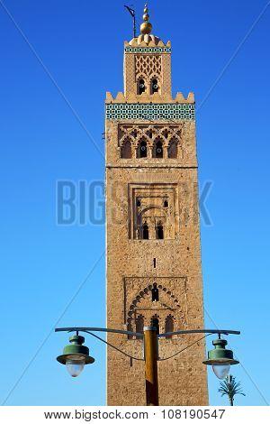 Street Lamp   In Maroc Africa  Minaret Religion And