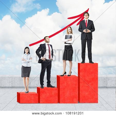 Stairs As A Huge Red Bar Chart Are On The Roof. Business People Are Standing On Each Step As A Conce