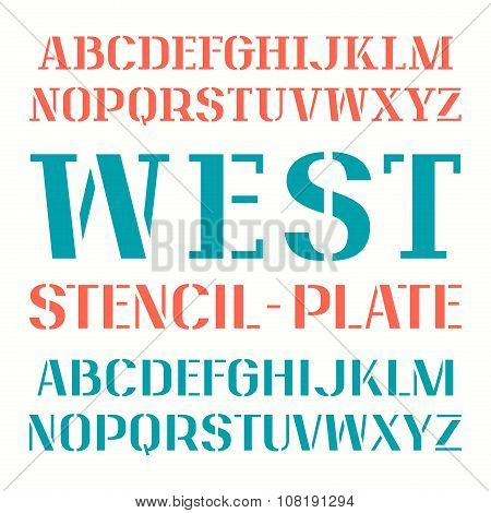 Set Of Uppercase Stencil-plate Font