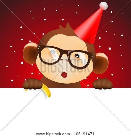 Cute monkey holding white page, Christmas card
