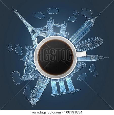 Top View Of A Coffee Cup And The Holograms Of The Most Famous Cities In The World. The Concept Of Tr