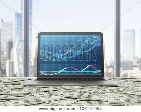 A Modern Laptop With Forex Chart On The Screen. The Laptop Is On The Table Which Is Covered By Dolla