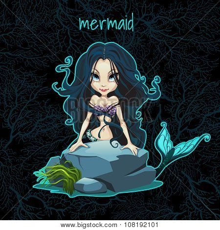 Card with the mermaid and space for text