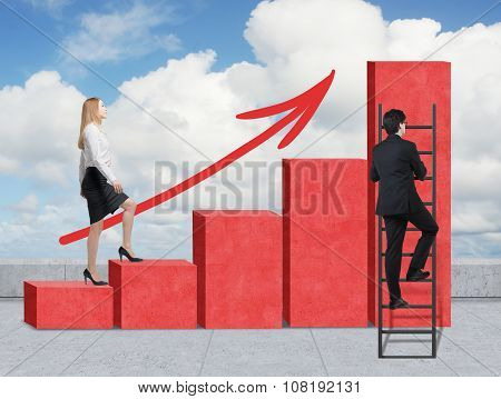 Stairs As A Huge Red Bar Chart Are On The Roof. A Woman Is Going Up To The Stairs, While A Man Has D