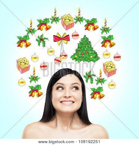 A Portrait Of A Happy Beautiful Brunette Who Is Waiting For Christmas And New Year's Eve. Christmas-