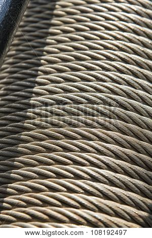 Close up of metal cable roll