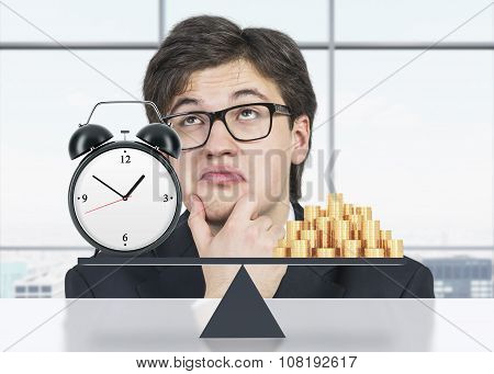 Pondering Businessman About The Balance Between Time And Money. On The One Side Is Money, On The Oth
