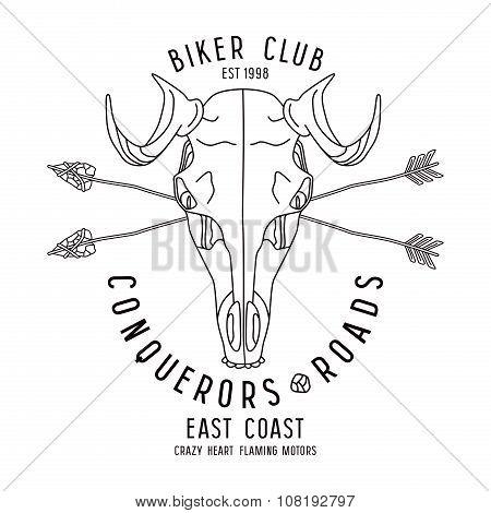 Skull Animal Biker Club Emblem