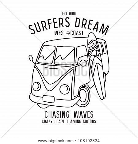 Surfing Print In Thin Line Style