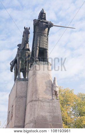 Monumento Of Duke Of Lithuania In Vilnius