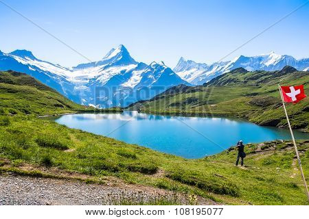 Romantic Scene, Reflection Of The Famous Matterhorn In Lake, Zermatt, Switzerland.