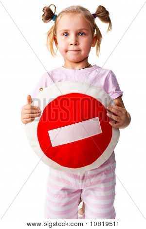 Child Holding A Pillow With Stop Sign