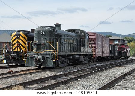 Old trains at Steamtown National Historic Site in Scranton, Pennsylvania