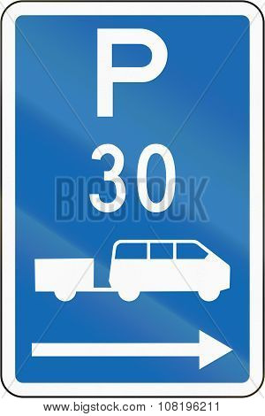 New Zealand Road Sign - Parking Zone For Shuttles With Time Limit, On The Right Of This Sign