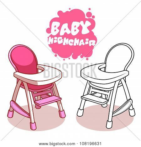 Baby Highchair Isolated On White Background