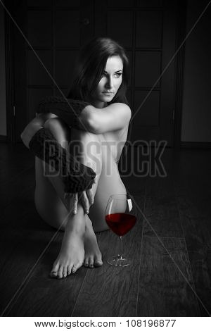 Sexy Nude Girl With Glass Of Red Wine Bw Shot