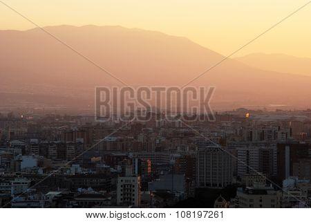 Malaga city at dusk.