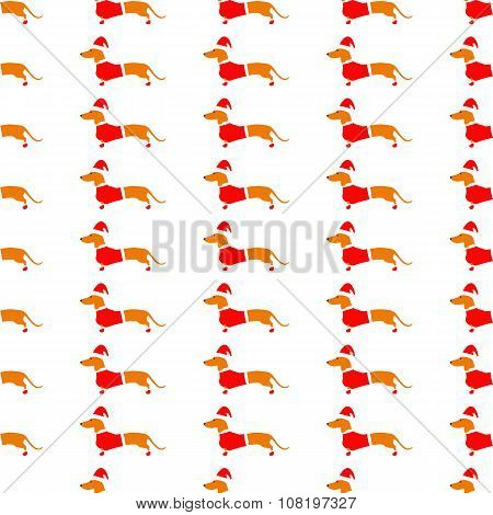 Background With Dachshund In Red Christmas Suit