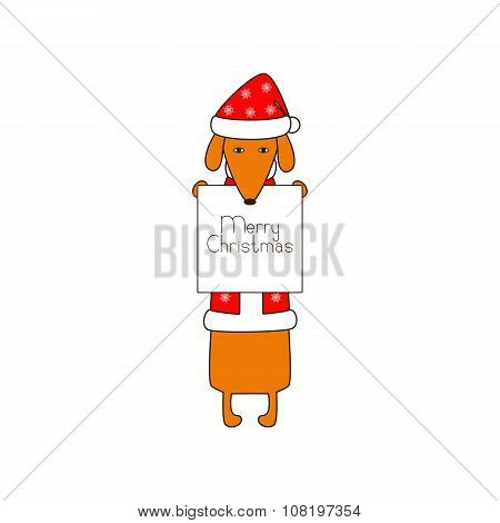 Merry Christmas Greeting Card With Dachshund