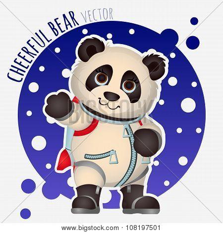 Panda astronaut, funny vector character