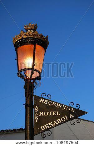 Spanish light and hotel sign, Puerto Banus.