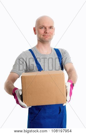 Man In Flap Trousers With Cardboard In Front Of White Background