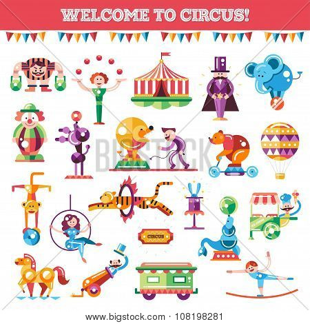 Set of modern flat design circus and carnival icons, infographics elements