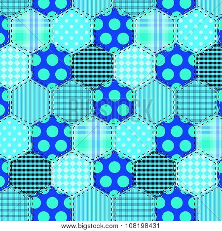 Seamless Pattern Patchwork Blue Fabrics Hexagon