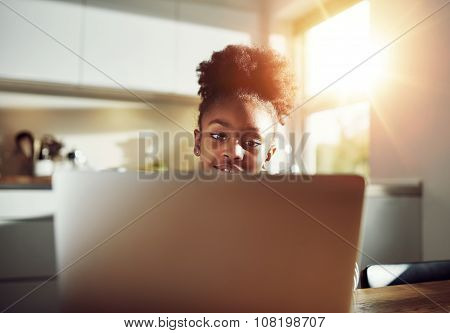 Little Girl With At A Laptop Computer