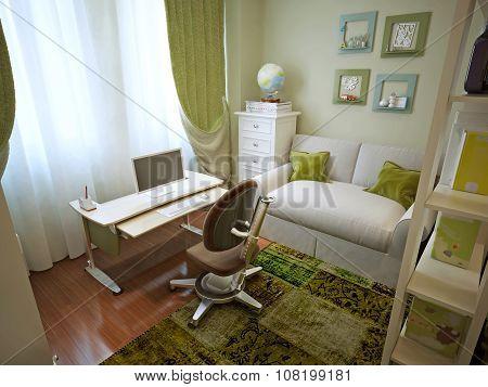Modern Children's Room With Children's Table.