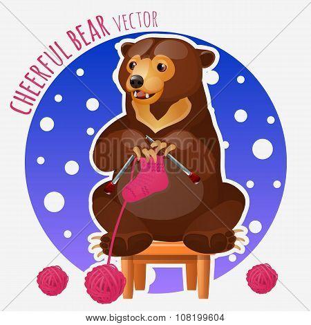 Cute bear knit pink sock sitting on a stool